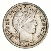 1909-D BARBER SILVER DIME - CIRCULATED 3108