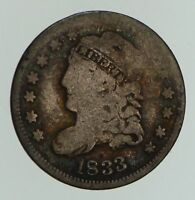 1833 CAPPED BUST HALF-DIME - CIRCULATED LM-2 R7 4739