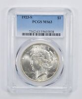 MINT STATE 63 1923-S PEACE SILVER DOLLAR - PCGS GRADED 3061