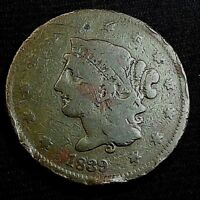1839 CORONET HEAD LARGE CENT US COPPER COIN