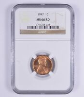 MINT STATE 66RD 1947 LINCOLN WHEAT CENT - NGC GRADED 9472