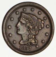 1857 BRAIDED HAIR LARGE CENT - CIRCULATED 0164