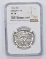 MINT STATE 67 1926 OREGON TRAIL COMMEMORATIVE HALF DOLLAR - NGC GRADED 9785