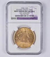 MINT ERROR 1924 $20.00 ST GAUDENS GOLD DOUBLE EAGLE - NGC GRADED 7124