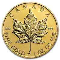 CANADA 1 OZ GOLD MAPLE LEAF .999 FINE  RANDOM YEAR    SKU 95505