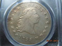 1795 FLOWING HAIR DOLLAR,  PCGS AU DETAILS, BEAUTIFUL GOLDEN/SILVER/RAINBOW HUES