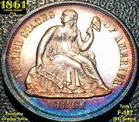 1861 SEATED LIBERTY DIME NEAR GEM UNCIRCULATED  @@GORGEOUS TONING@@