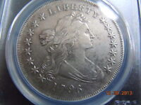 1796 DRAPED BUST DOLLAR PCGS EXTRA FINE  DETAILS, SMALL DATE, LARGE LETTERS, TOUGH DATE