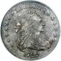 1799 DRAPED BUST DOLLAR, PCGS UNC DETAILS SPECTACULAR COIN  MS DETAILS