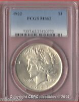 PEACE DOLLAR - 1922 - PCGS MINT STATE 62