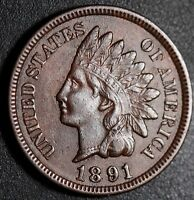 1891 INDIAN HEAD CENT -WITH LIBERTY & DIAMONDS - EXTRA FINE  EF