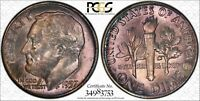 1957 ROOSEVELT DIME  PCGS MINT STATE 66  TONED WITH TRUEVIEW