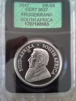 2017 SOUTH AFRICA KRUGERRAND 50TH ANNIVERSARY 1OZ SILVER PROOF APCGS GRADED PR69