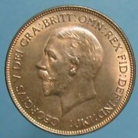 GEM BU 1928 GEORGE V PENNY   SO CLOSE TO FULL RED