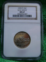 1999 P 25C NEW JERSEY NJ STATE QUARTER NGC MS67   NGC PRICE GUIDE VALUE IS $40