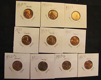LOT OF 10 HIGH GRADE LINCOLN WHEAT CENTS - 1950-D, 1952-D, 1953, 1953-D, 1954-S