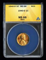1940-D 1C LINCOLN CENT COIN BU SELECT GEM BRILLIANT UNCIRCULATED ANACS MINT STATE 66 RED