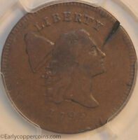 1795 C6A R2 LIBERTY CAP HALF CENT PLAIN EDGE NO POLE PCGS FINE CHOICE ERROR