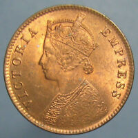 1891 C QUARTER ANNA   FULL RED OBVERSE & TONED REVERSE   END OF ROLL COIN?