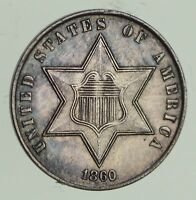 1860 SILVER THREE-CENT PIECE - CIRCULATED 9645