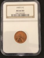1955 S LINCOLN CENT NGC MINT STATE 66 RD