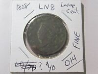 1828 LARGE CENT - LARGE NARROW DATE - CLASSIC HEAD TYPE COIN - FINE COND