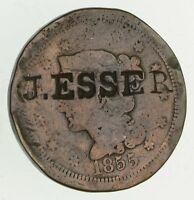 1855 BRAIDED HAIR LARGE CENT - CIRCULATED - COUNTERSTAMP