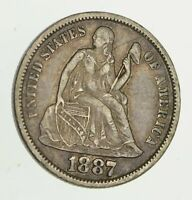 1887-S SEATED LIBERTY SILVER DIME - CIRCULATED 9366