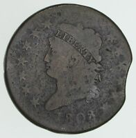 1808 CLASSIC HEAD LARGE CENT ERROR CLIPPED PLANCHET - CIRCULATED 3998
