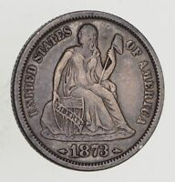 1873 SEATED LIBERTY SILVER DIME - CIRCULATED 7174