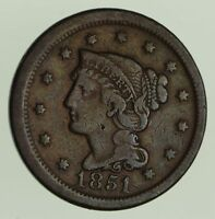 1851/81 BRAIDED HAIR LARGE CENT - CIRCULATED 7880