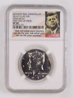 SATIN FINISH 68 2014-P KENNEDY CLAD HIGH RELIEF 1ST DAY ISSUE HALF DOLLAR NGC GRADED 2534