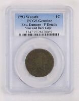 GENUINE 1793 WREATH FLOWING HAIR LARGE CENT - PCGS GRADED 2161