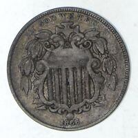1866 SHIELD NICKEL - WITH RAYS - CIRCULATED 9185