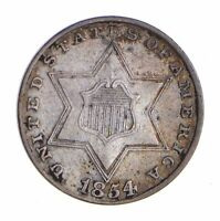 1854 SILVER THREE-CENT PIECE - TRIME - CIRCULATED 9780