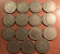 15 DIFFERENT LIBERTY NICKELS ALL WITH FULL 4-DIGIT DATES LOT 1899 TO 1912-D
