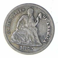 1872 SEATED LIBERTY SILVER DIME - CIRCULATED 0160
