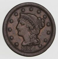 1854 BRAIDED HAIR LARGE CENT - CIRCULATED 7536