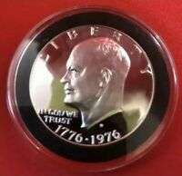 1976 S EISENHOWER BICENTENNIAL SILVER GEM PROOF CAMEO IKE DOLLAR IN COIN CAPSULE