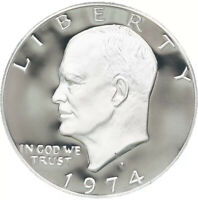 1974 S EISENHOWER SILVER PROOF IKE DOLLAR GEM PROOF CAMEO IN COIN CAPSULE