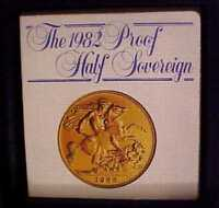 PROOF SOLID 22CT GOLD HALF SOVEREIGN COIN   1982 IN ROYAL M