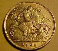 1908 SOLID 22CT GOLD HALF SOVEREIGN COIN   GOOD CONDITION SI