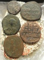 FINE   TO VF  LOT OF FIVE ANCIENT BYZANTINE COINS LARGEST 30 MM JESUS CHRIST