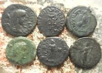 LOT OF 6 ROMAN PROVINCIAL COINS FINE   VF LARGEST 19 MM