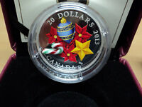 2013 CANADA $20 FINE SILVER COIN   HOLIDAY GLASS CANDY CANE