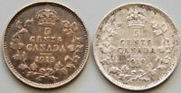 1913 & 1919 CANADA CANADIAN SILVER 5 CENT COINS   LOT OF 2