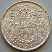 1943 CANADA CANADIAN 50 CENT SILVER COIN   KING GEORGE VI