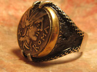 AUTHENTIC ANCIENT  ROMA JUPITER HORSE CHARIOT  SILVER COIN MENS RING