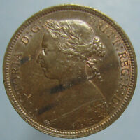 1887 VICTORIA HALF PENNY   SHARP BROWN UNCIRCULATED WITH A HINT OF MINT RED