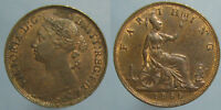 HIGH GRADE RED & BROWN 1886 VICTORIA FARTHING
